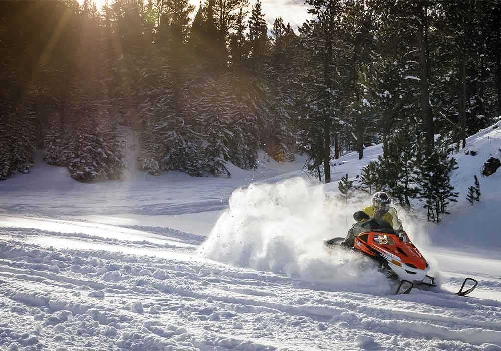 Snowmobiling on trails around Spearfish