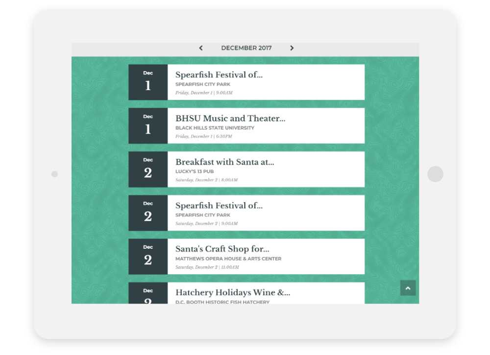 Visit Spearfish responsive website Events Calendar shown on a tablet