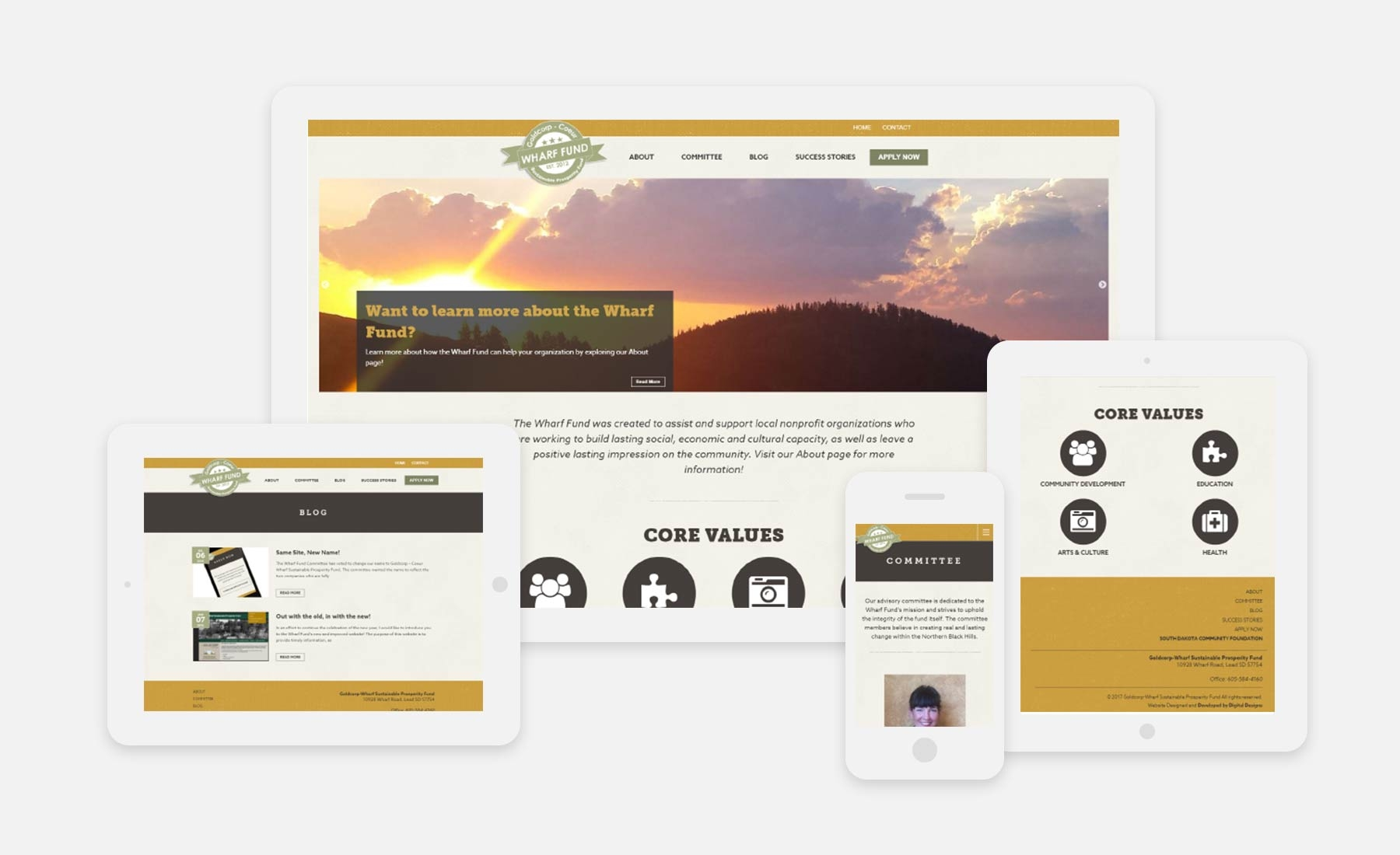 Wharf Fund responsive website shown on several devices