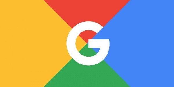 Google's white logo on red, yellow, green and blue background blocks