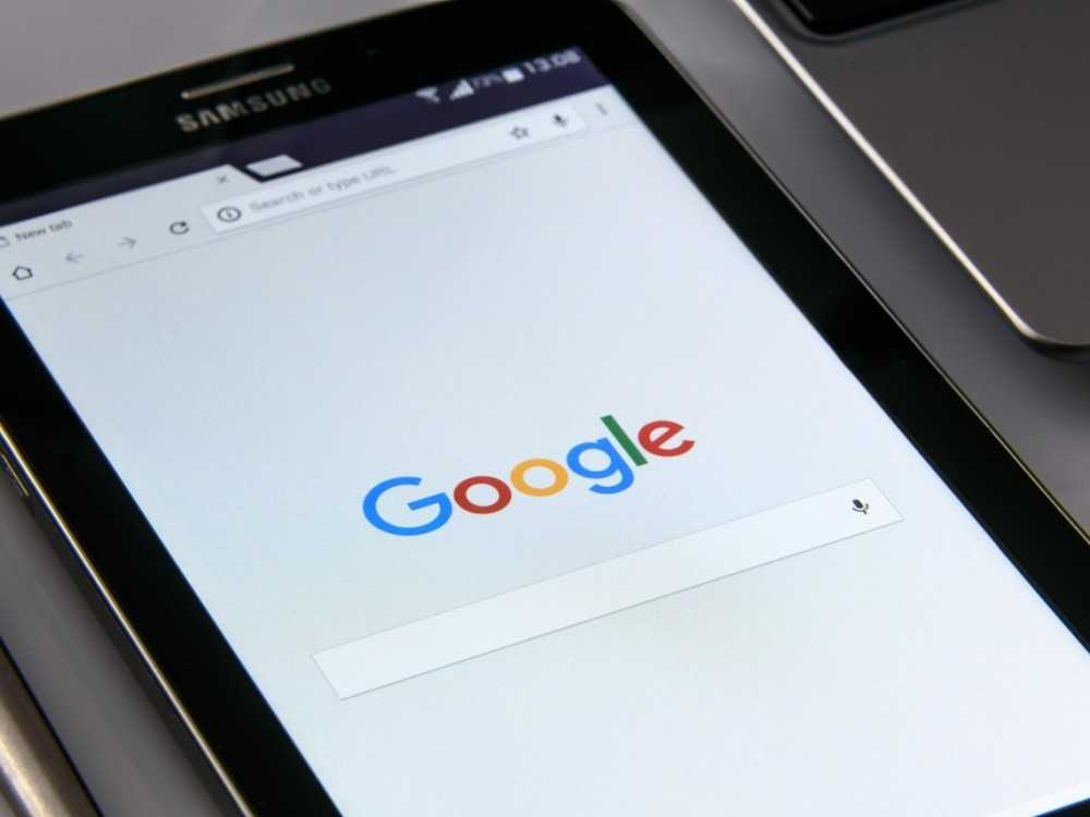 Tablet with Google homepage