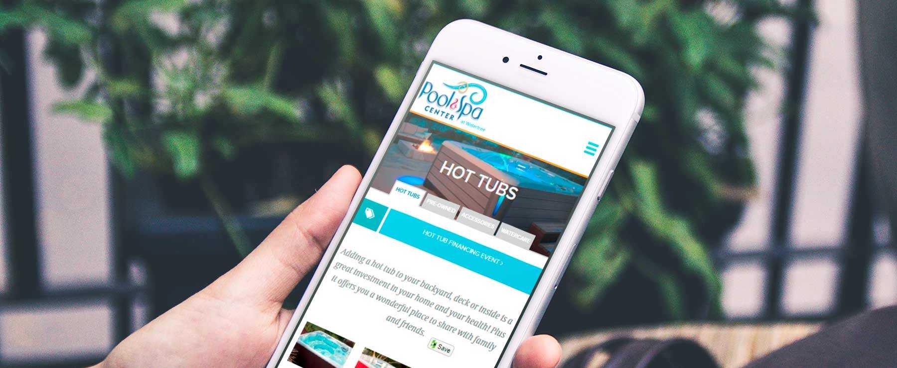 Pool Spa Center website on mobile